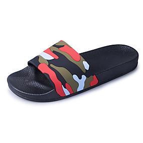baratos Sandálias e Chinelos Masculinos-Homens Sapatos Confortáveis Couro Ecológico Primavera Verão Chinelos e flip-flops Verde Escuro / Vermelho / Marron