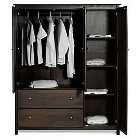 billige Møbler-espresso træfinish soveværelse garderobe armoire skab skabet
