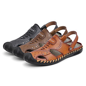 4283a3cce رجالي أحذية جلدية جلد الصيف الأعمال التجارية / كاجوال صنادل المشي متنفس  أسود / بني / كاكي