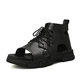 baratos Sandálias Masculinas-Homens Sapatos Confortáveis Couro Verão Casual Sandálias Respirável Preto / Bege