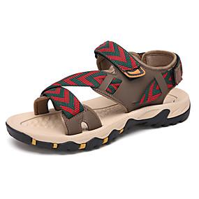 baratos Sandálias Masculinas-Homens Sapatos Confortáveis Lona Primavera Verão / Outono & inverno Sandálias Preto / Khaki