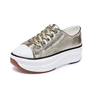 voordelige Damessneakers-Dames Sneakers Leren schoenen Creepers Ronde Teen Kanten stiksel Leer Informeel / minimalisme Lente zomer Wit / Zwart / Zilver
