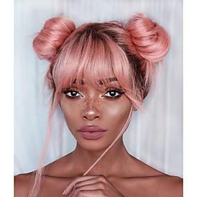 billige Pink & Red Lace Wigs-Remy Menneskehår Blonde Forside Parykk Gratis del stil Brasiliansk hår Rett Lyserød Parykk 130% Hair Tetthet med baby hår Myk Dame Ombre-hår Naturlig hårlinje Dame Kort Lang Blondeparykker med