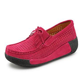 voordelige Damesinstappers & loafers-Dames Suède Lente & Herfst / Zomer Brits / minimalisme Loafers & Slip-Ons Wandelen Creepers Ronde Teen Kwastje Rood / Blauw / Roze