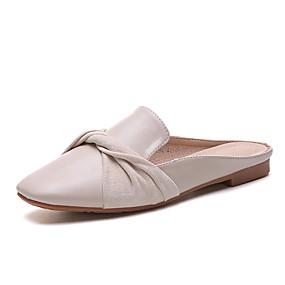 baratos Tamancos & Mules Femininos-Mulheres Tamancos e Mules Sapatos Confortáveis Salto de bloco Couro Ecológico Verão Amêndoa