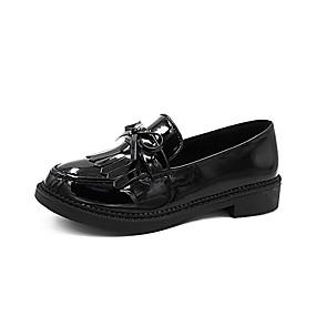voordelige Damesinstappers & loafers-Dames Loafers & Slip-Ons Blokhak Ronde Teen Strik / Kwastje Lakleer Informeel Zomer Zwart / Feesten & Uitgaan