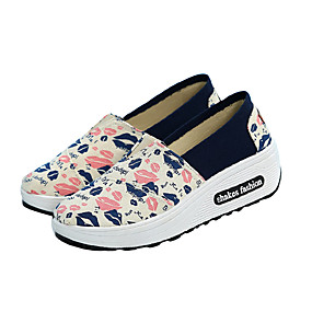 voordelige Damesinstappers & loafers-Dames Loafers & Slip-Ons Creepers Ronde Teen Canvas Informeel Zomer Rood / Blauw