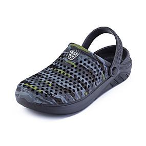 baratos Tamancos Masculinos-Homens Sapatos Confortáveis Couro Ecológico Verão Tamancos e Mules Respirável Preto / Azul / Cinzento