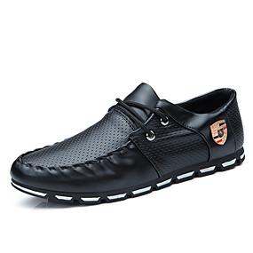 baratos Oxfords Masculinos-Homens Sapatos formais Couro Ecológico Primavera Verão / Outono & inverno Negócio / Casual Oxfords Caminhada Respirável Preto / Branco e Preto / Branco