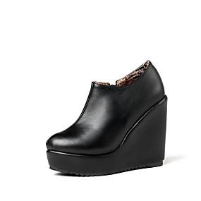 voordelige Damesinstappers & loafers-Dames Loafers & Slip-Ons Sleehak Ronde Teen PU Klassiek / Vintage Herfst / Lente zomer Zwart / Beige