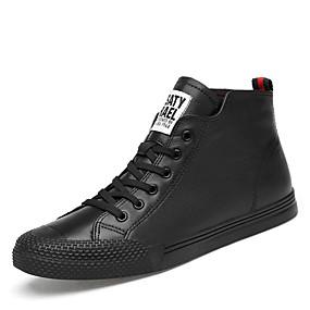 baratos Tênis Masculino-Homens Sapatos de couro Pele Napa Inverno Clássico / Casual Tênis Caminhada Não escorregar Branco / Preto