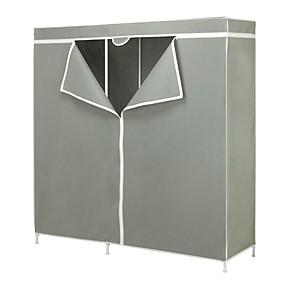 hesapli Depolama Çözümleri-60-inç gri taşınabilir dolap giyim organizatör gardırop