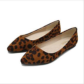 voordelige Damesschoenen met platte hak-Dames Synthetisch Lente & Herfst Platte schoenen Platte hak Bruin / Khaki