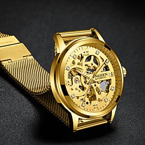 baratos Desconto Relógios-Homens Relógio de Luxo Relógio Esqueleto relógio mecânico Automático - da corda automáticamente Estilo Formal Fashion Aço Inoxidável Preta / Dourada 30 m Gravação Oca Mostrador Grande Analógico Luxo