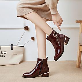 billige Mote Boots-Dame Støvler Tykk hæl Spisstå Lakklær Ankelstøvler Britisk Høst vinter Svart / Burgunder / Mørkeblå / Fest / aften