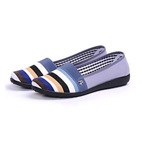 voordelige Damesinstappers & loafers-Dames Loafers & Slip-Ons Platte hak Ronde Teen Canvas Informeel Zomer Grijs / Geel / Roze / Gestreept