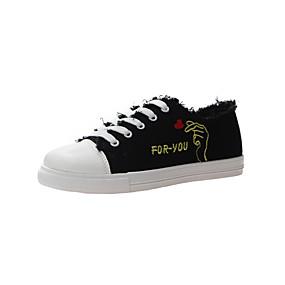 voordelige Damessneakers-Dames Sneakers Platte hak Ronde Teen Canvas Informeel Lente & Herfst Wit / Zwart / leuze