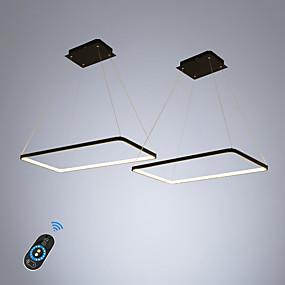 abordables Plafonniers-ecolight 2 pcs / lot rectangle linéaire lumière pendante lumière ambiante pour salle à manger salon. gradable réglable 110-120v / 220-240v blanc chaud / blanc / smart