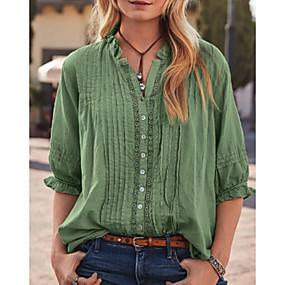 ราคาถูก เสนอประจำวัน-สำหรับผู้หญิง เสื้อเชิร์ต สีพื้น ใบไม้สีเขียวที่มีสามแฉก US10 / UK14 / EU42