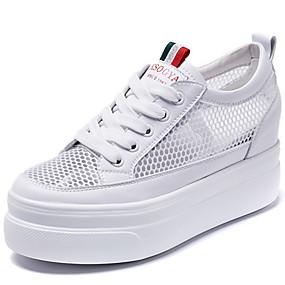 voordelige Damesschoenen met platte hak-Dames Platte schoenen Creepers Ronde Teen Netstof Zomer Wit