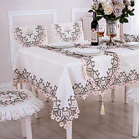 billige Duker-Moderne Land polyesterfiber Kvadrat Duge Blomstret Mønstret Broderi Borddekorasjoner