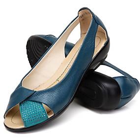 voordelige Damesschoenen met platte hak-Dames Platte schoenen Platte hak Peep Toe Leer Zomer Zwart / Kameel / Wit