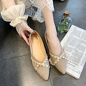 voordelige Damesschoenen met platte hak-Dames Platte schoenen Platte hak Gepuntte Teen Kralen Microvezel Klassiek / Brits Lente & Herfst Zwart / Rood / Khaki