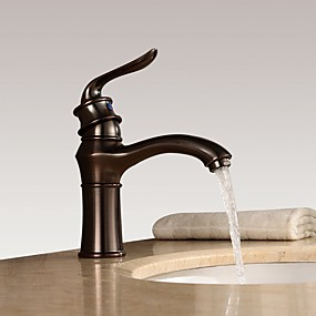 cheap New Arrivals-Bathroom Sink Faucet - Widespread Oil-rubbed Bronze Centerset Single Handle One HoleBath Taps