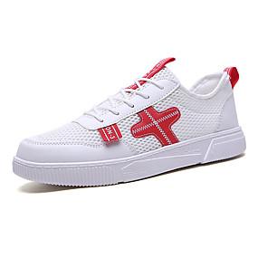 baratos Tênis Masculino-Homens Sapatos Confortáveis Tecido elástico Primavera Verão Esportivo Tênis Respirável Branco e Preto / Vermelho / Branco / azul