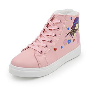 voordelige Damessneakers-Dames Sneakers Platte hak Ronde Teen PU Informeel Winter Zwart / Roze