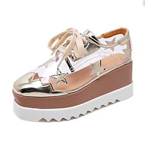 voordelige Damessneakers-Dames Sneakers Sleehak Vierkante Teen Pailletten Imitatieleer Informeel Herfst winter Goud / Zilver