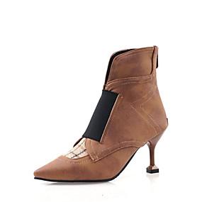 billige Mote Boots-Dame Støvler Liten hæl Spisstå Blondesøm Fuskelær Ankelstøvler Fritid / minimalisme Gange Vår & Vinter / Høst vinter Svart / Brun / Fargeblokk