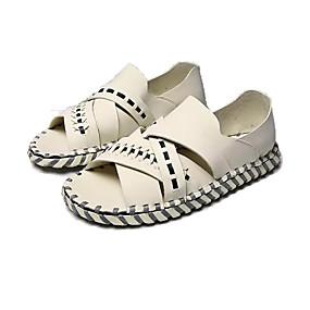 baratos Sandálias Masculinas-Homens Sapatos Confortáveis Couro Ecológico Verão Sandálias Preto / Bege / Amêndoa