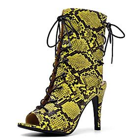 billige Mote Boots-Dame Støvler Stiletto Heel Boots Stiletthæl PU Ankelstøvler Sommer Gul / Grønn / Leopard