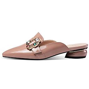 baratos Tamancos & Mules Femininos-Mulheres Tamancos e Mules Sapatos Confortáveis Salto Baixo Pele Verão Bege / Rosa claro