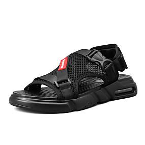 baratos Sandálias Masculinas-Homens Sapatos Confortáveis Com Transparência Primavera Verão Casual Sandálias Respirável Preto / Vermelho