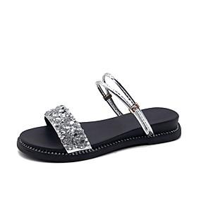 voordelige Damesschoenen met platte hak-Dames Platte schoenen Platte hak Synthetisch Zoet / minimalisme Zomer / Lente zomer Zwart / Zilver / Feesten & Uitgaan