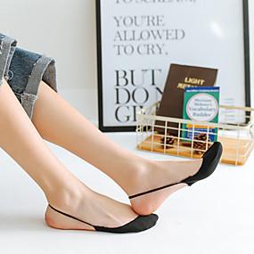 billige Sko og vesker-2 par Dame Sokker Standard Ensfarget Leg Shaping Sexy Bomullsblanding EU36-EU46