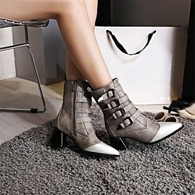 billige Mote Boots-Dame Støvler Fashion Boots Tykk hæl Spisstå PU Støvletter Høst vinter Svart / Grå / Fargeblokk
