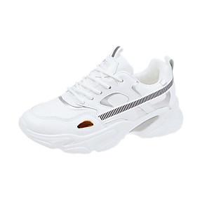 baratos Sapatos Esportivos Femininos-Mulheres Tênis Creepers Couro Ecológico Corrida / Caminhada Primavera Verão / Outono & inverno Branco / Preto / Prata