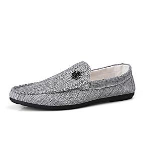 baratos Sapatilhas e Mocassins Masculinos-Homens Sapatos Confortáveis Lona Verão Negócio / Casual Mocassins e Slip-Ons Caminhada Respirável Preto / Cinzento