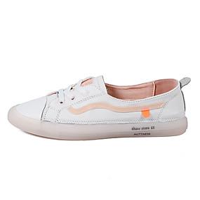 voordelige Damessneakers-Dames Sneakers Platte hak Ronde Teen Nappaleer Informeel Lente / Lente zomer Wit / Roze