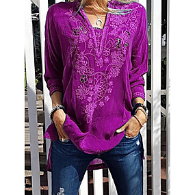 ราคาถูก เสนอประจำวัน-สำหรับผู้หญิง เสื้อเชิร์ต สีพื้น สีม่วง US10 / UK14 / EU42