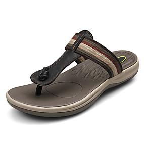 baratos Sandálias e Chinelos Masculinos-Homens Sapatos de couro Pele Napa Verão / Outono Casual Chinelos e flip-flops Respirável Preto / Marron