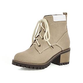 billige Mote Boots-Dame Støvler Tykk hæl Rund Tå Syntetisk Ankelstøvler Høst vinter Svart / Militærgrønn / Beige / Fest / aften