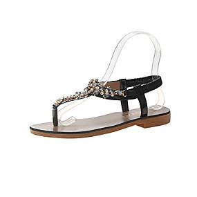 voordelige Damesschoenen met platte hak-Dames Platte schoenen Platte hak Open teen PU Studentikoos Wandelen Zomer Zwart / Zilver / Groen