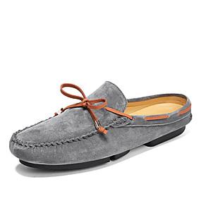 baratos Tamancos Masculinos-Homens Sapatos Confortáveis Couro Ecológico Verão Casual Tamancos e Mules Não escorregar Estampa Colorida Preto / Cinzento / Khaki