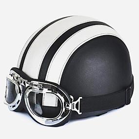 billige Nyankomne i august-motorsykkel hjelm unisex menn kvinner åpne ansikt halvvisir beskyttelsesbriller verneshjelm