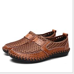 baratos Sapatilhas e Mocassins Masculinos-Homens Sapatos Confortáveis Couro Ecológico Verão Mocassins e Slip-Ons Respirável Preto / Verde Tropa / Azul