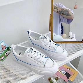 voordelige Damessneakers-Dames Sneakers Platte hak Ronde Teen Microvezel Zomer Geel / Blauw